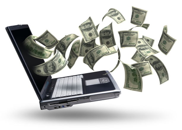 money flying out of laptop
