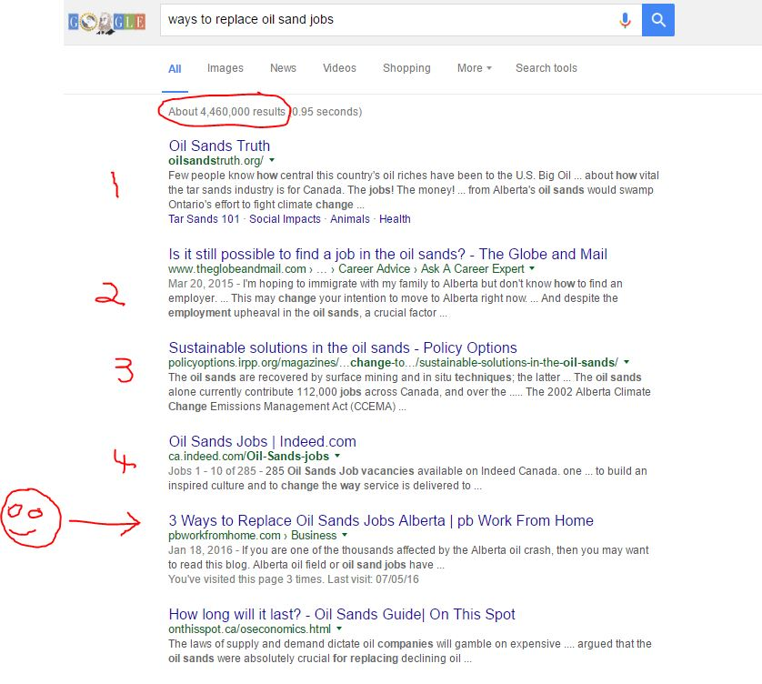 Getting on first page of Google search