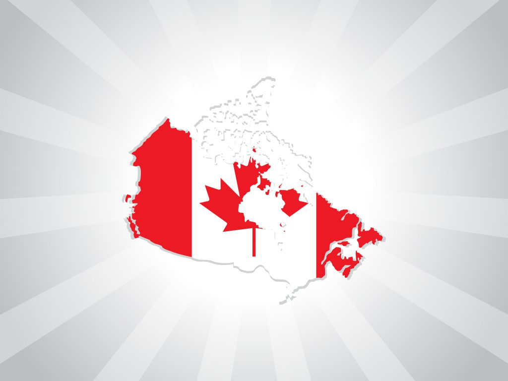 Canada Flag and map background
