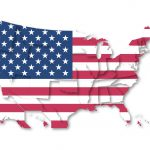 USA flag and map background