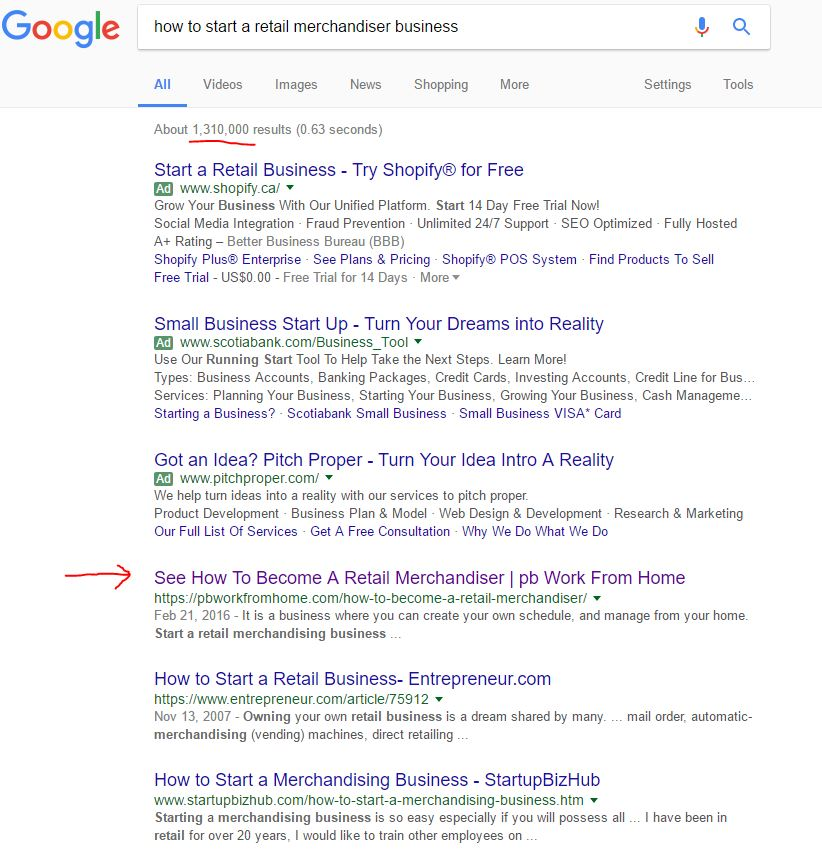 SEO front Page of Google
